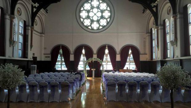 Victoria Hall marriage ceremony set up