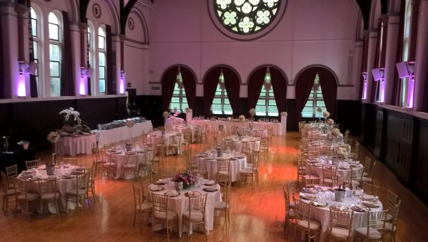 Ealing Town Hall - Victoria Hall wedding dining for 130 guests