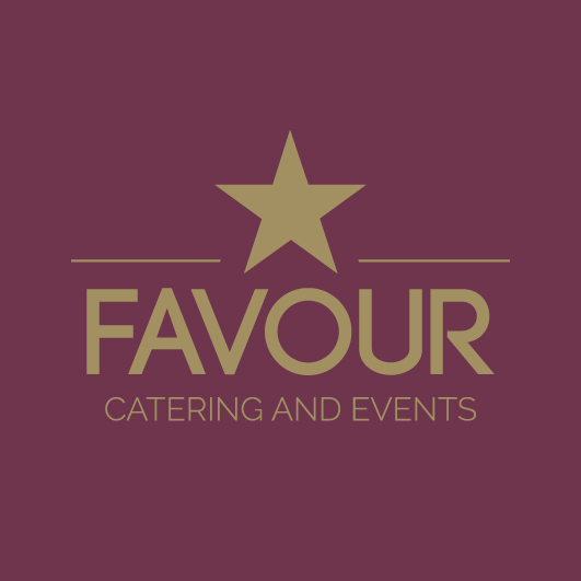 Favour catering logo dark red background with gold lettering