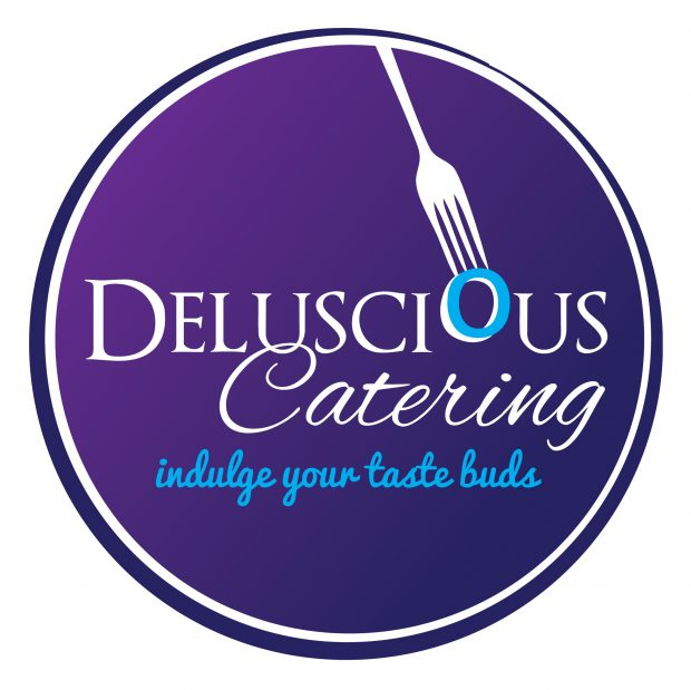 Deluscious Catering purple and blue circular logo with white lettering