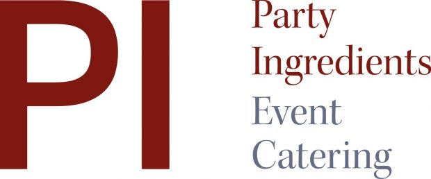Party Ingredients logo in burgundy, grey and white